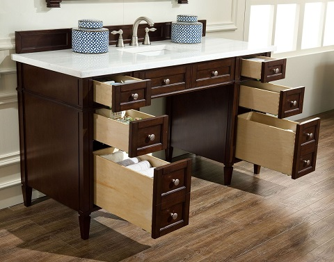 """Brittany 60"""" ADA Approved Bathroom Vanity in Burnished Mahogany 651-V60S-BNM from James Martin Furniture"""