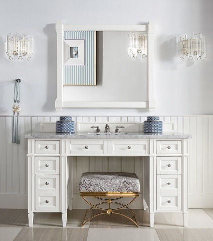 """Brittany 60"""" ADA Approved Bathroom Vanity in Cottage White 651-V60S-CWH from James Martin Furniture"""