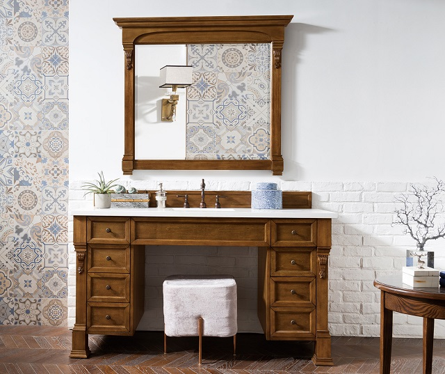 """Brookfield 60"""" Single Bathroom Vanity With Wheelchair Accessible Makeup Table in Country Oak 146-V60S-COK from James Martin Furniture"""