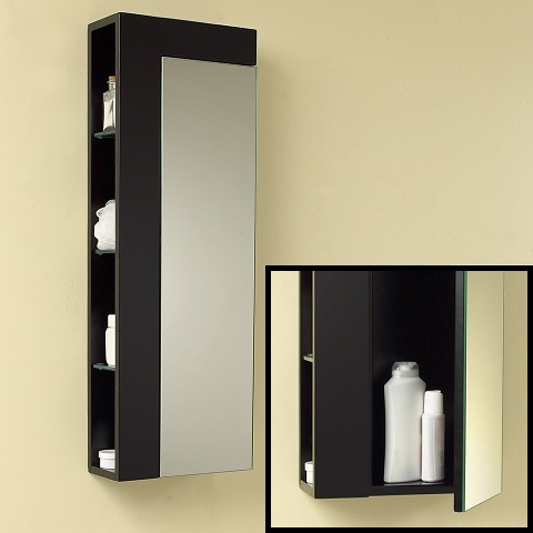 Espresso Bathroom Linen Side Cabinet with Large Mirror Door FST1024ES from Fresca