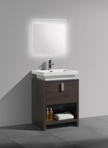 """Levi 24"""" Dark Gray Oak Modern Bathroom Vanity With Cubby Hole L600WB from KubeBath"""