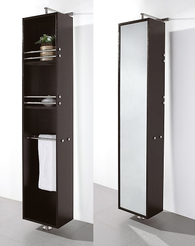 Mirrored Linen Tower in Espresso WCSB802ES from Wyndham Collection