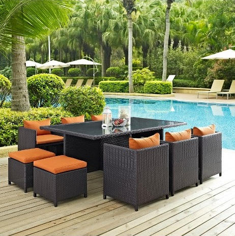Reversal 11 Piece Outdoor Patio Dining Set from Modway Furniture