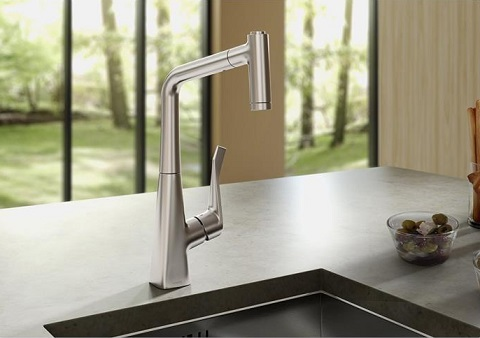 Metris 2-Spray Prep Kitchen Faucet 04508000 from Hansgrohe