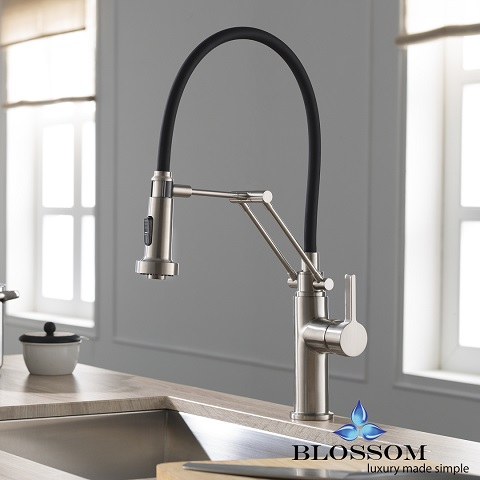Single Handle Pull Down Kitchen Faucet In Brushed Nickel F-012082 from Blossom