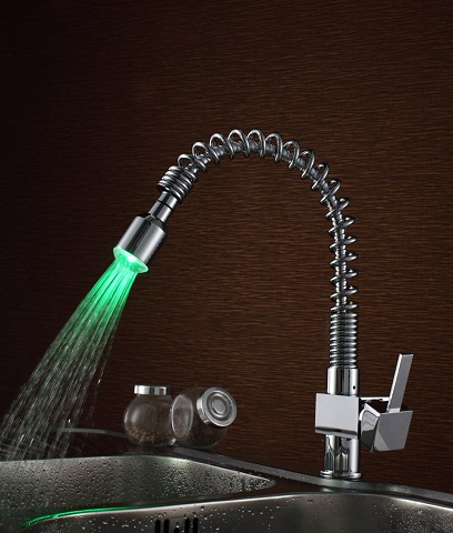 Spring LED Light Kitchen Faucet S6026CL from Sumerain