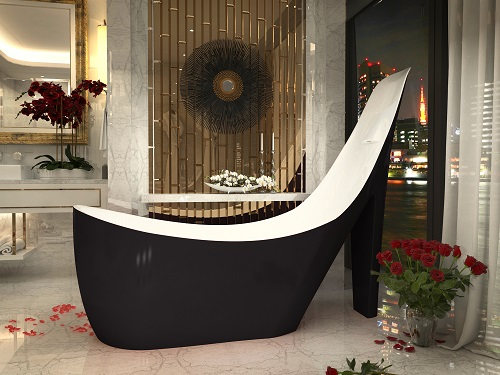"""Gala 80"""" One-Piece Acrylic Freestanding Bathtub in Glossy Black and White FT-AZ220 from Anzzi"""