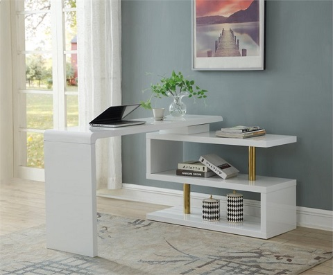 Pivot Desk and Media Console in Majestic White 13642 from Coast to Coast Imports